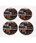 4 222 Fifth Halloween Script Words Black Orange White Appetizer Plates NWT - $26.99