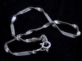 "Vintage Silver Plated Chain ANKLE BRACELET Anklet*Signed*9-3/8""*S194 - $11.88"