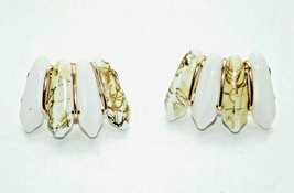 vintage lucite white gold clip earrings retro 1970's groovy - $6.92