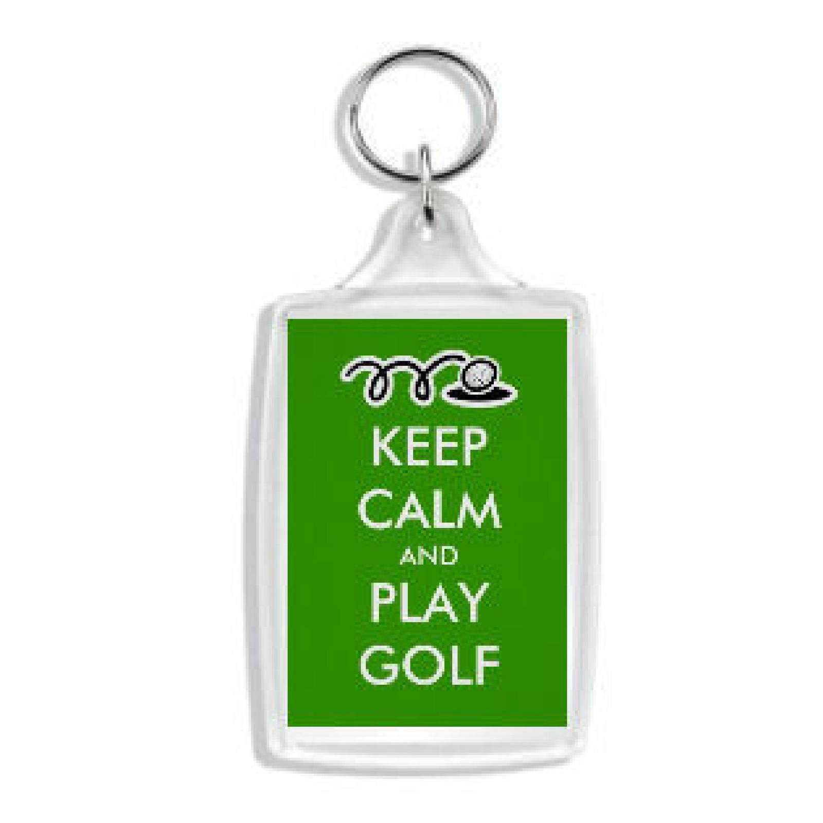 keep calm and play golf  handmade in uk from uk made parts keyring, keyfob