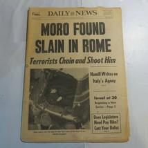 Daily News May 1978 Aldo Romeo Luigi Moro Found Slain in Rome Terrorists M8 - $59.99