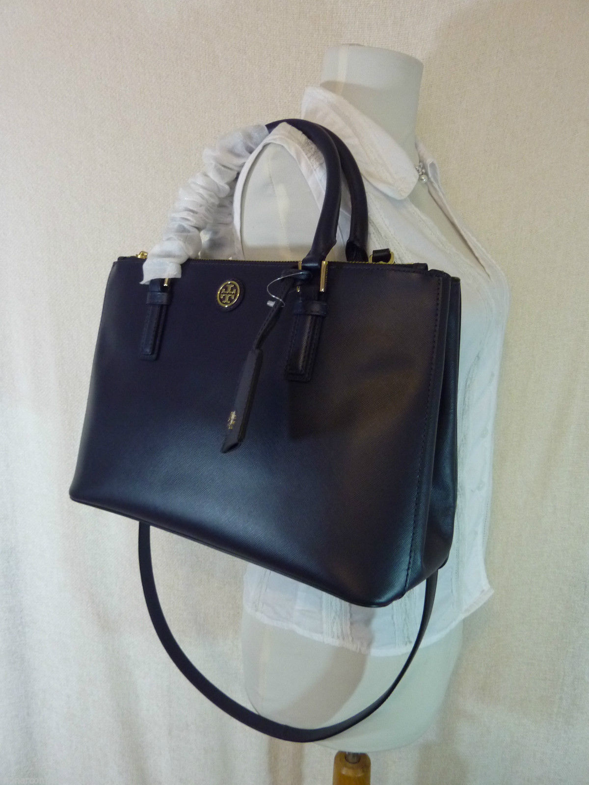 Tory Burch Navy Blue Saffiano Leather Robinson Mini Double-Zip Tote $495 image 2