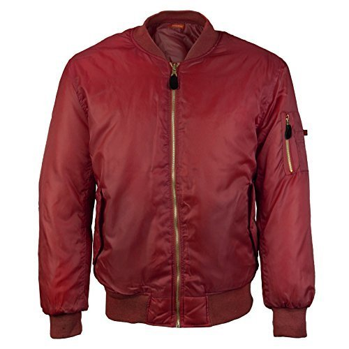 Men's Multi Pocket Water Resistant Padded Zip Up Flight Bomber Jacket (2XL, Burg