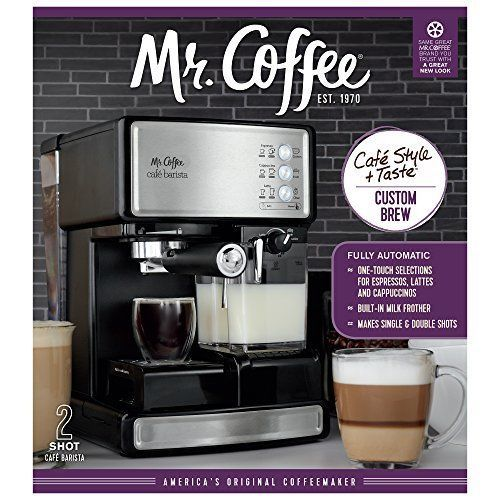 Mr Coffee Espresso Cappuccino Maker Machine With Milk Frother Stainless Steel, used for sale  USA