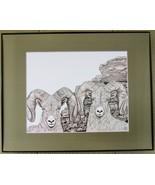 Big Horn Sheep, Framed Wildlife Art Print, Pen and Ink, Animal Drawing m... - $39.00