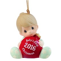 Baby's First Christmas 2016 Precious Moments Ornament Porcelain Family L... - $39.58