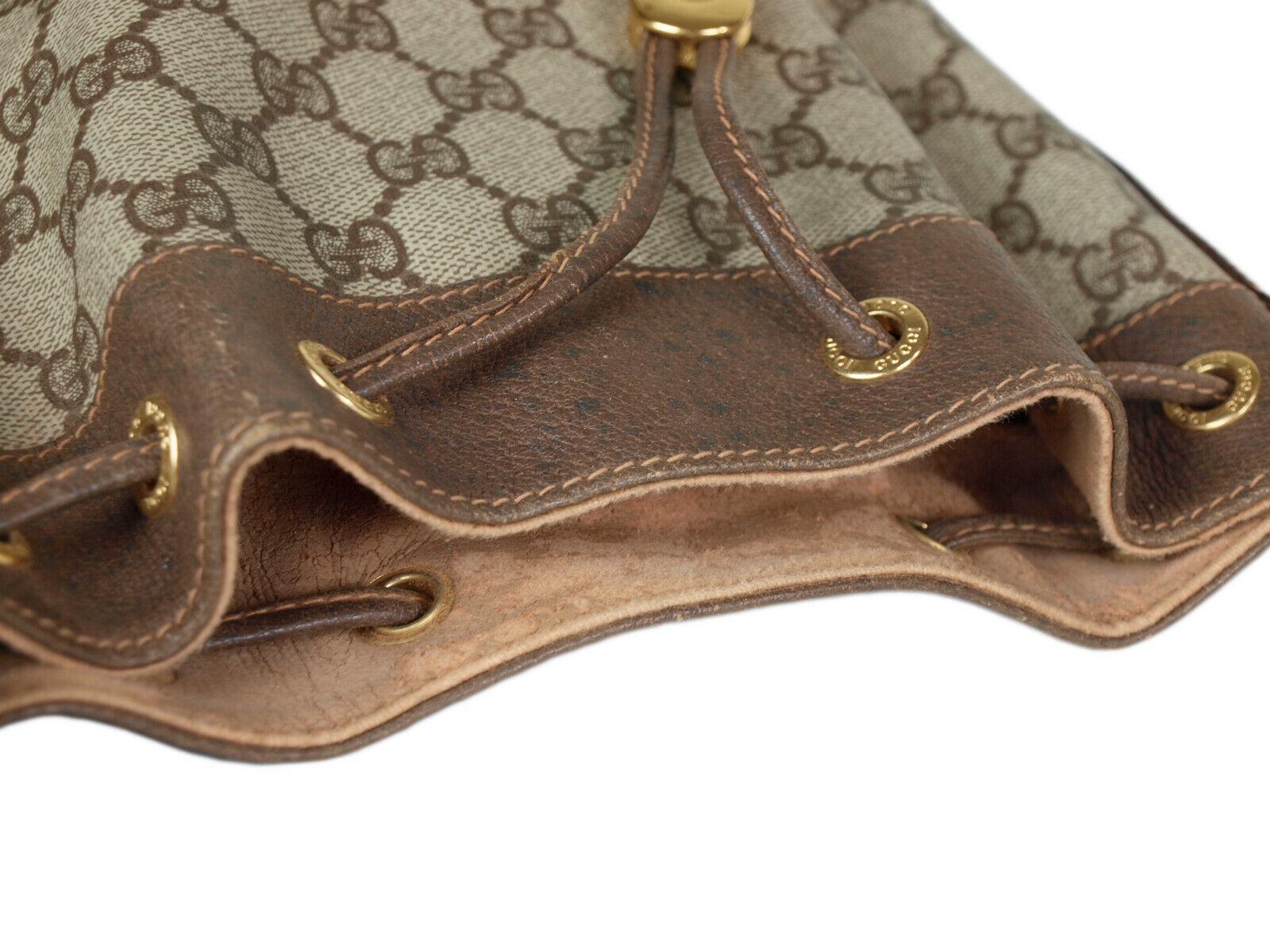 GUCCI GG Web PVC Canvas Leather Browns Drawstring Shoulder Bag GS2171 image 7