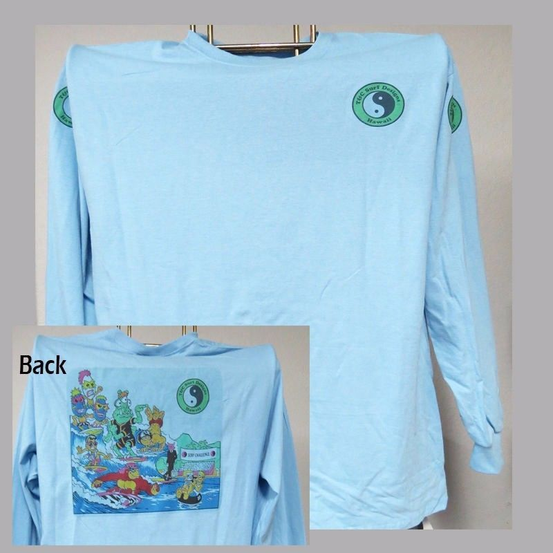T&C,Town & Country,Hawaii Retro Thrilla,Surfing,LONG SLEEVE T-SHIRT,T-1025LtBlue for sale  USA
