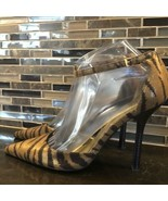 GUESS gold brown zebra pointy ankle strap heels - $45.54