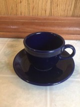 Fiesta ware Cobalt Blue Cup and Saucer Demitasse Espresso Cup Homer Laughlin  - $20.45