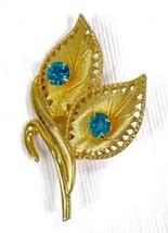 """Vintage Gold Tone Floral Leaf Brooch With Blue Rhinestones Celebrity 2-1/8"""" - $12.73"""