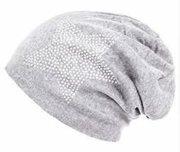 Unisex Men Women Classic Star Rhinestone Slouch Beanie Cap Cotton Hat Light Grey - $8.50