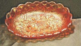 Vintage orange oval Carnival Glass with flower and diamond pattern AA19-CD0018 image 7