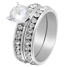 Sparkling Solitaire 8mm Cz Gold Stainless Steel Luxury Wedding Ring Set image 5