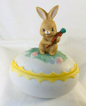 Vintage Lefton China Hand Painted Easter Egg Bunny rabbit Trinket Box - $13.85