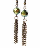 Antiqued Brass Green Tassel Dangling Earrings - $17.90+