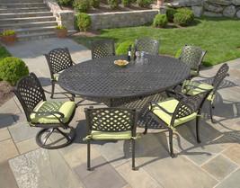 """Nassau Outdoor Patio 9pc Egg Dining Set 70""""x100"""" Cast Aluminum Dark Bronze - €1.780,46 EUR+"""