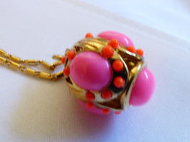 J.Crew Gold Tone Neon Pink Color Egg Ball Drop ... - $63.36