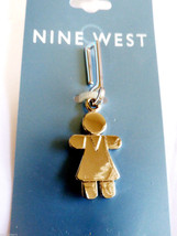 NINE WEST SILVER TONE GIRL CLIP ON CHARM ZIPPER PULL NEW ON CARD - $11.88