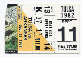 1982 NCAA College Football Ticket Stub Tulsa @ Arkansas September 11th 9... - $14.00