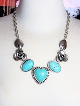 Lucky Brand Necklace Faux Turquoise Stars Flower Vintage Suede - $18.00