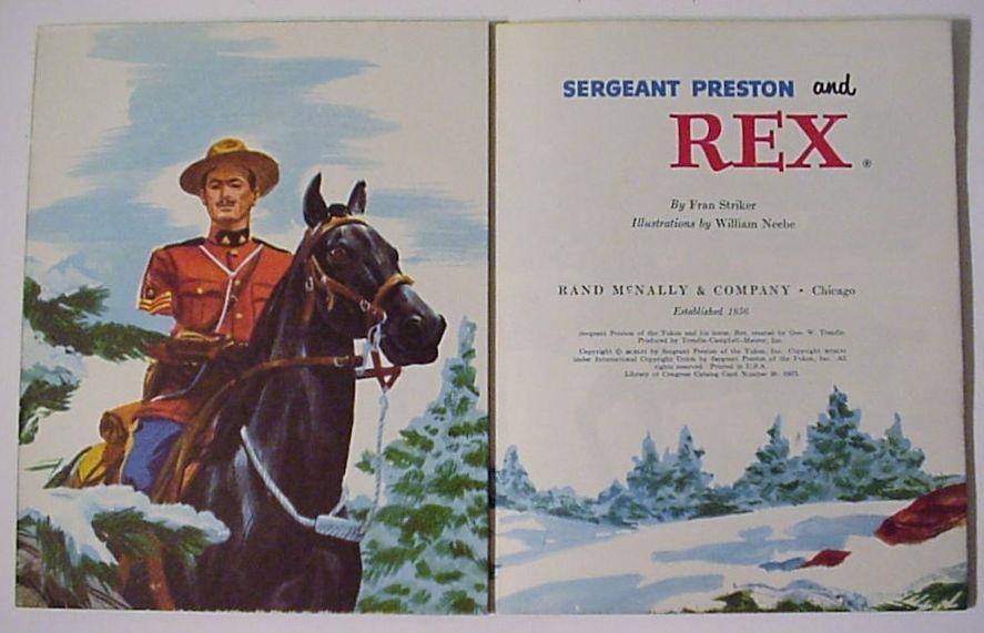 Sergeant Preston and Rex 1956 Rand McNally ELF Book CLEAN