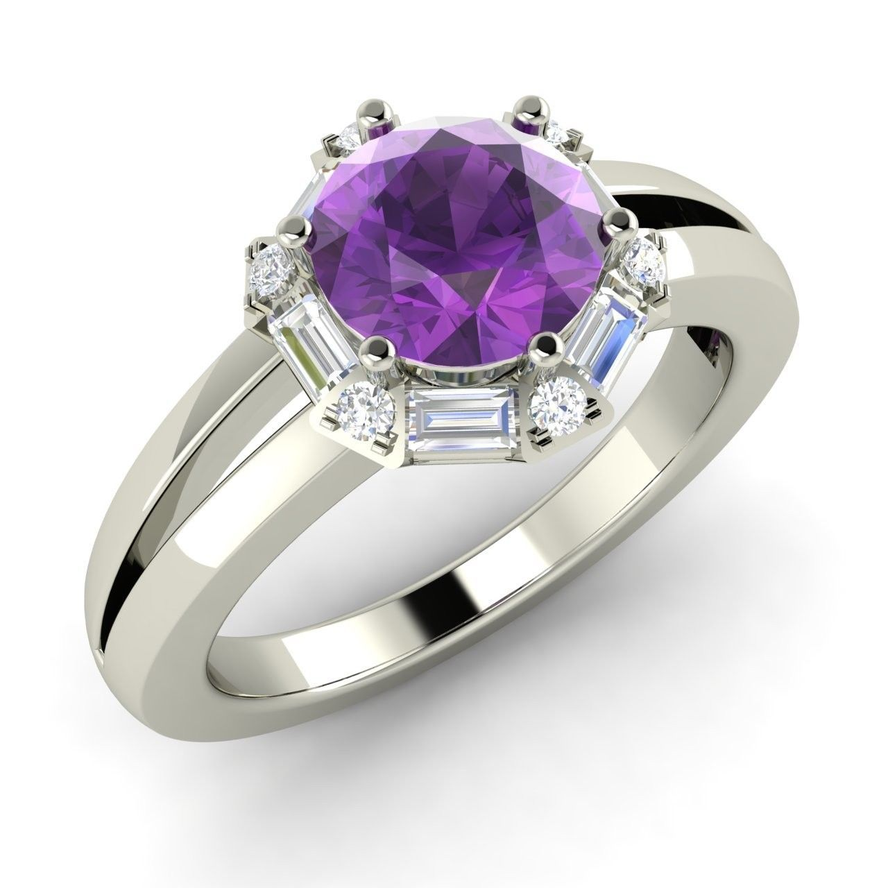 Engagement Rings Vs Wedding Bands: 1.27 Carat Purple Amethyst Engagement Ring In 14k White