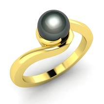 1.73 ct Round Black Pearl Solitaire Ring in 14k Yellow Gold  - $311.00