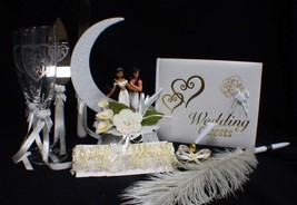 Aladdin & Jasmin Wedding Cake Topper Glasses Server Book Garter LOT Disney IVORY - $158.20