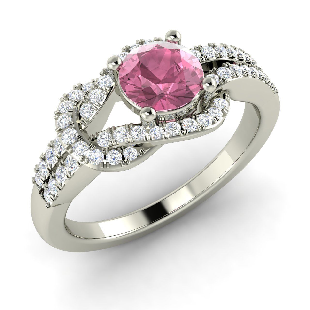 natural pink sapphire infinity knot engagement ring in