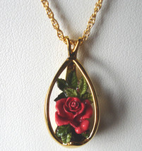 Goebel Olszewski Miniature ROSE Pendant Necklace Hand Painted/Sculptured... - $45.90