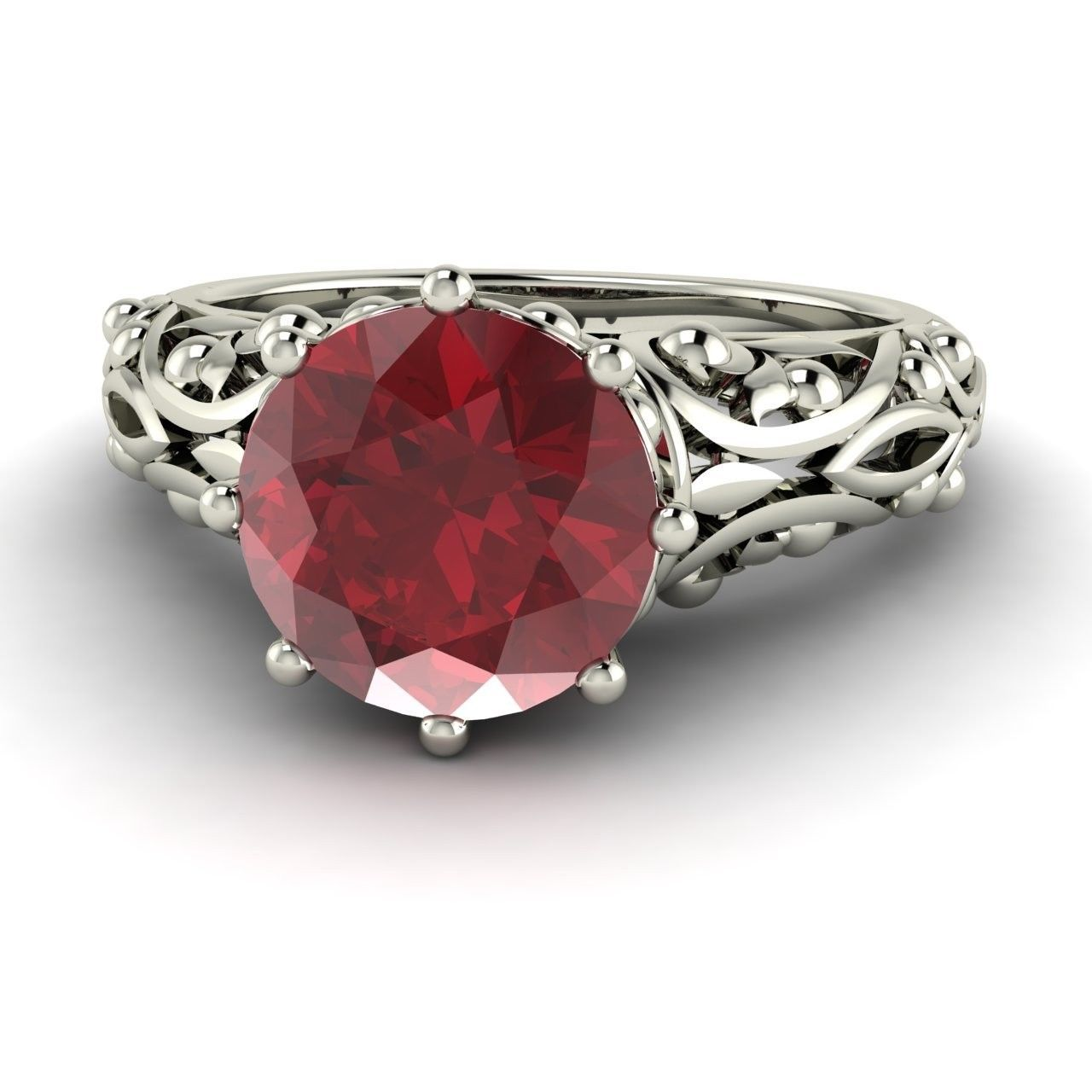 Natural Ruby Solitaire Vintage Look Engagement Ring In 14k