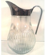 "VINTAGE GLASS CRYSTAL SILVER PLATED PITCHER 9.5"" TALL - $12.85"
