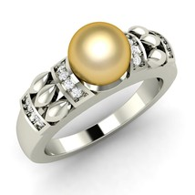 Golden Pearl Beautiful Ring In 14K White Gold With Sparkling Diamonds - ... - $631.00