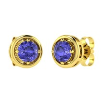 Natural Round AAA Tanzanite Stud Earrings in 14... - $491.00