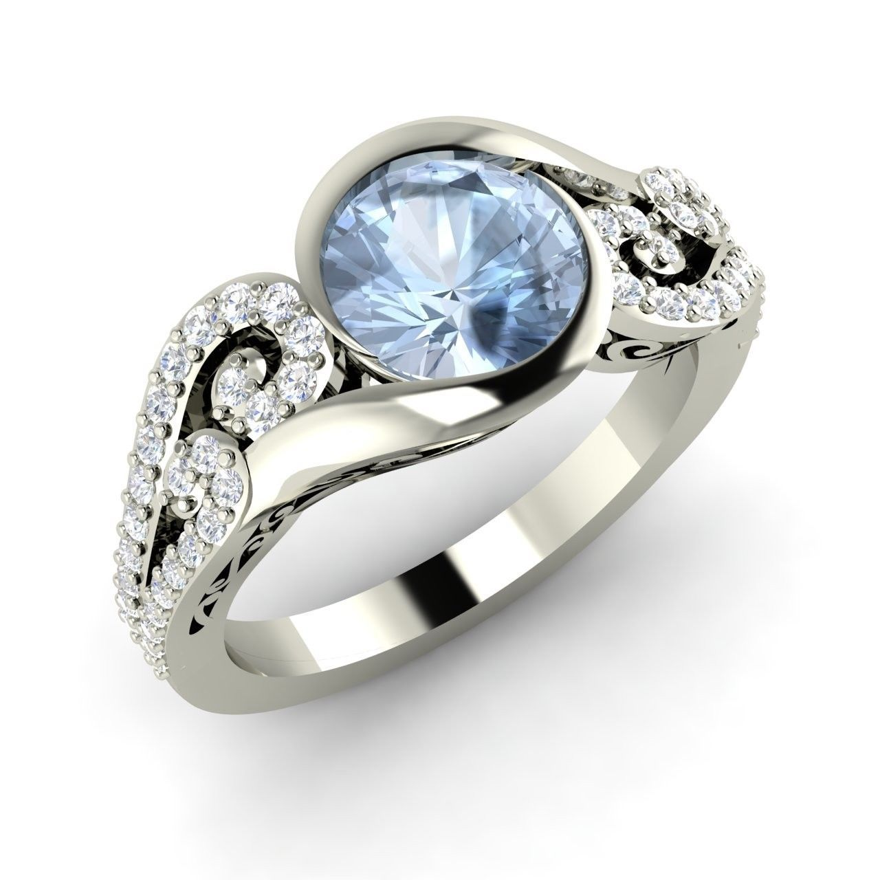 1.24 Ct Natural Aquamarine Engagement 14k White Gold Ring ...
