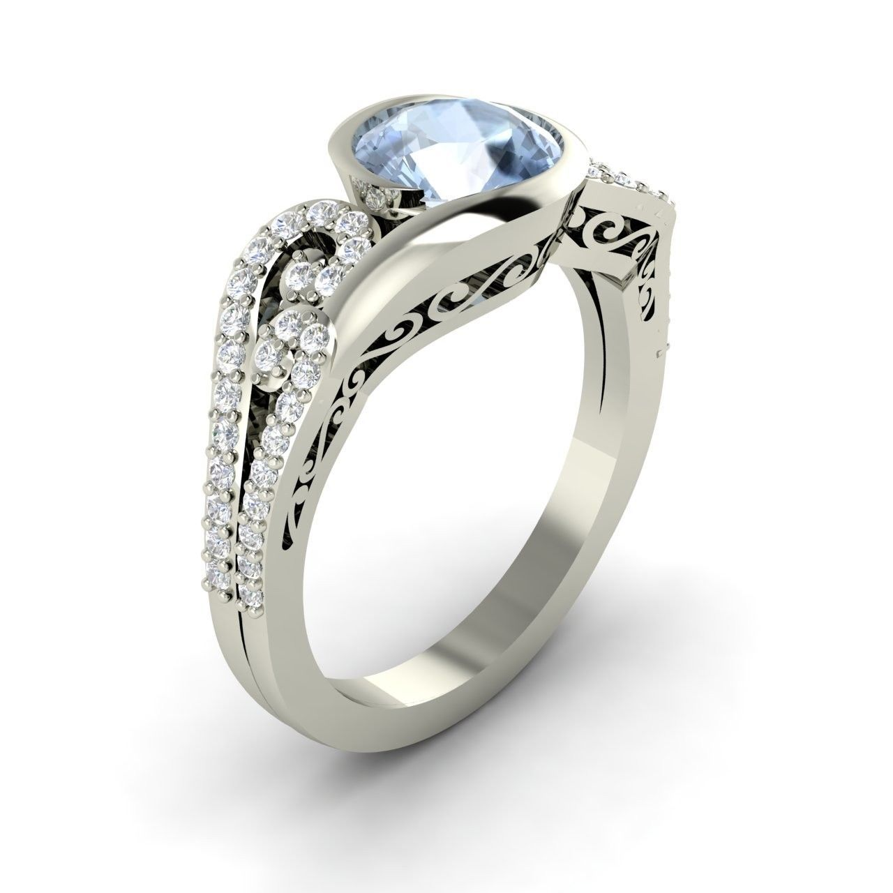 1.24 Ct Natural Aquamarine Engagement 14k White Gold Ring ...