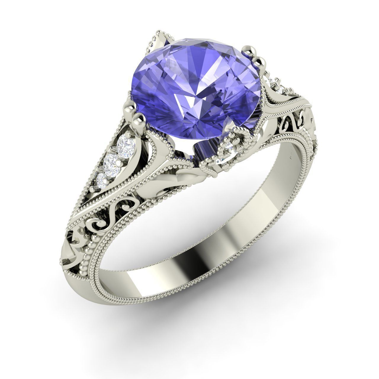 Natural Round Tanzanite & SI Diamond Engagement Ring in ...