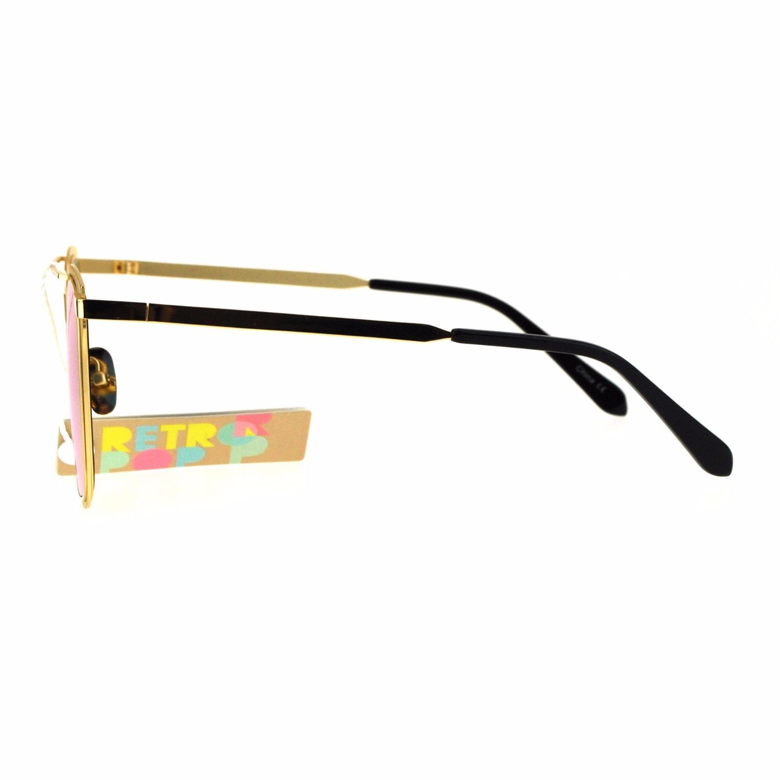 Womens Sunglasses Square Metal Frame Flat Top Bar Mirror Lens UV 400