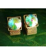 Swank Swarovski Cufflinks crystal rivoli  Set Vintage Wrap gold Mesh Cry... - $185.00