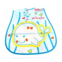 Lovely Smile Whale Adjustable Waterproof PVC Baby Bib Pocket Protect Bib 4528CM