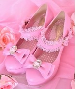 Princess Melody Hime Lace Strap Pink Shoes AGEHA MA*RS Size S Brand New Boxed - $249.00