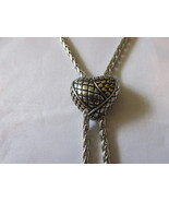 Heart Shaped Lariat / Bolo Style Slide Necklace - Two Toned, Magnetic Cl... - $12.99