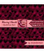 Hand-Painted Digital Paper 1 Design 8 1/2 x 11 Black Dark Red - $1.95