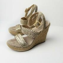 Michael Kors Gold Juniper Espadrilles Wedge Sandals Women Size 9.5M - $38.41