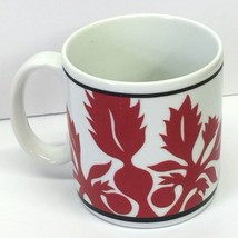 VTG Ulu  MOMO Mug Red on White Floral Hawaii Porcelain 1989 - $14.99
