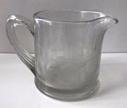 Vintage Clear Depression Glass With Floral Wheat Etched Creamer Small Pi... - $16.82
