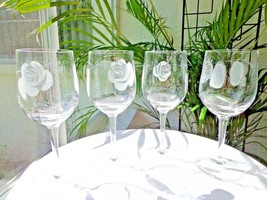 Set of 4 Crystal Hand Cut Clear Water Goblets Frosted Rose Unbranded - $44.54