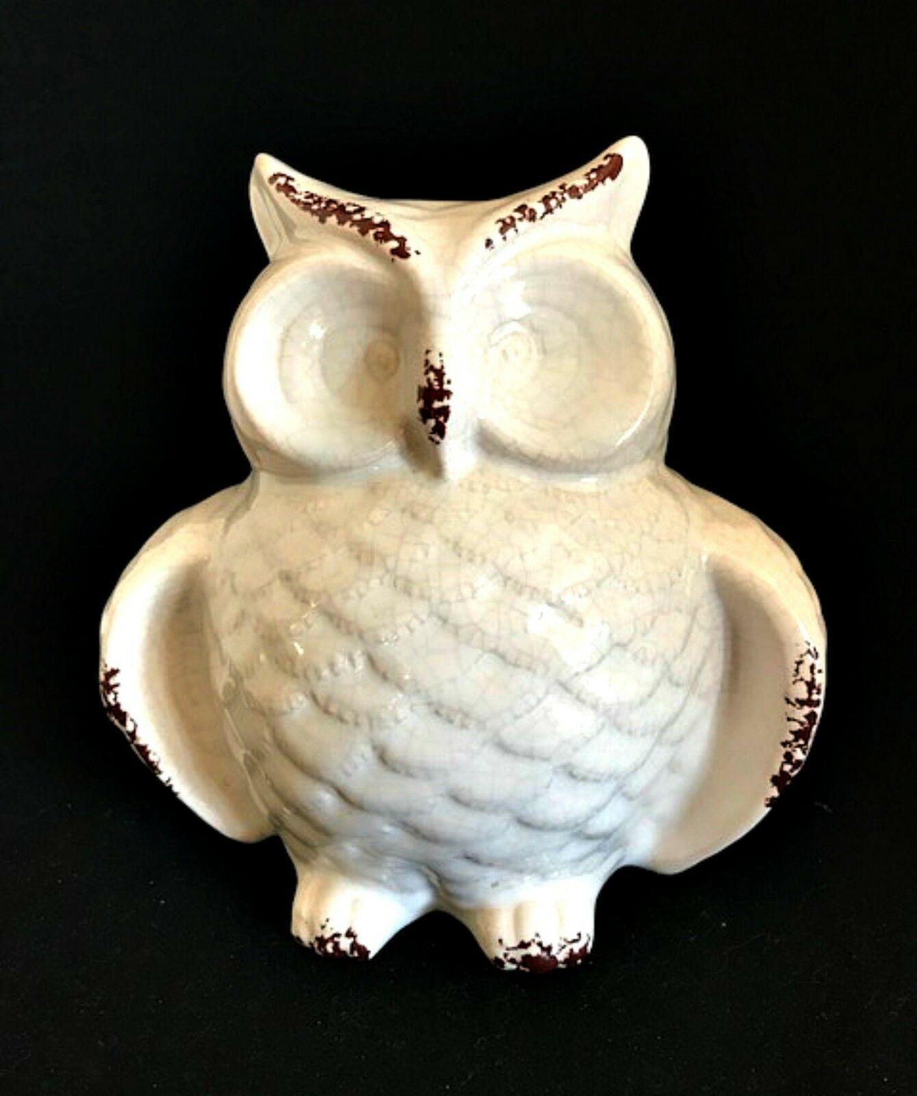 Ceramic Owl Figurine Shabby Glazed Paint White Brown Home Decor 6.5 in Tall New