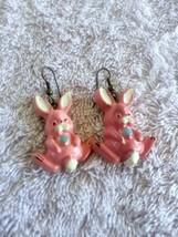 Vintage Celluloid Pink Bunny Rabbit Earrings - $4.00